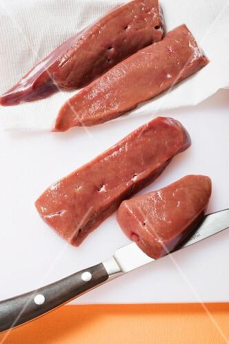 Sliced veal liver