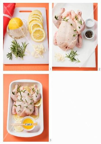 Lemon chicken being prepared