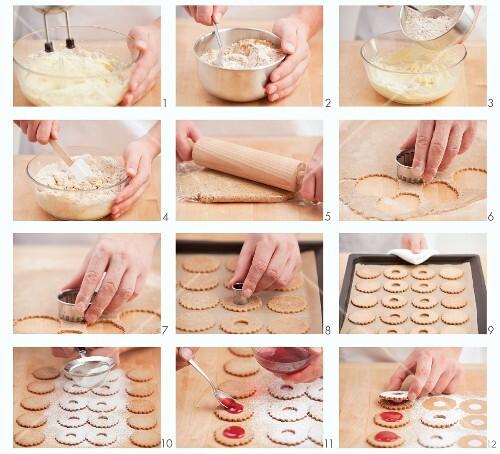 Linzer Plätzchen (nutty shortcrust jam sandwich biscuits with holes on top) being made
