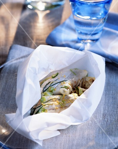 Whiting cooked in parchment paper
