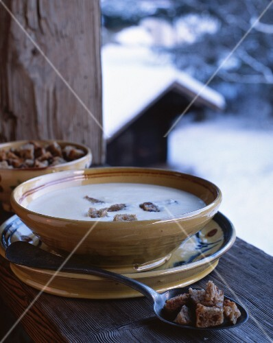 Soupe Savoyarde (cheese and potato soup with croutons, Chamonix, France)