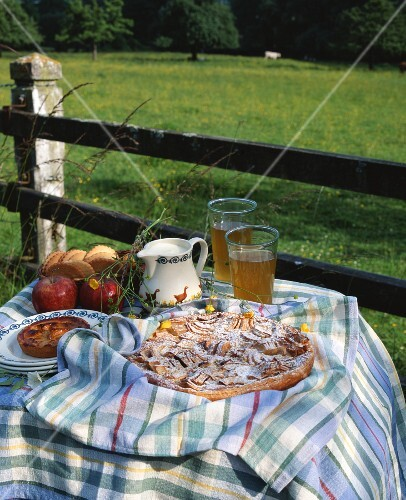 Apple tart on a table in the open air (Normandy, France)