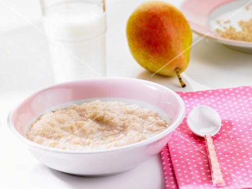 Rice pudding and a pear