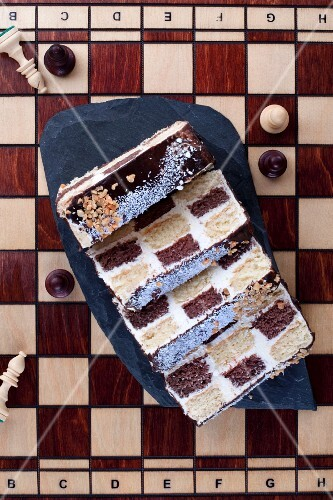 A chessboard cake seen from above