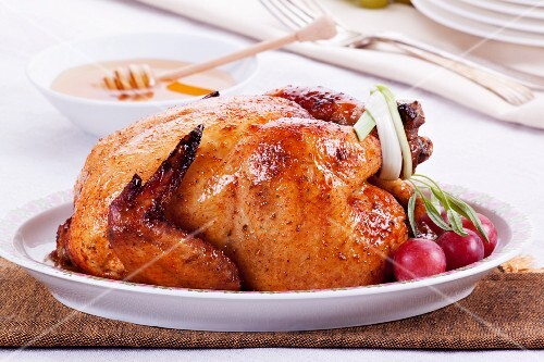 Roast chicken with a honey glaze