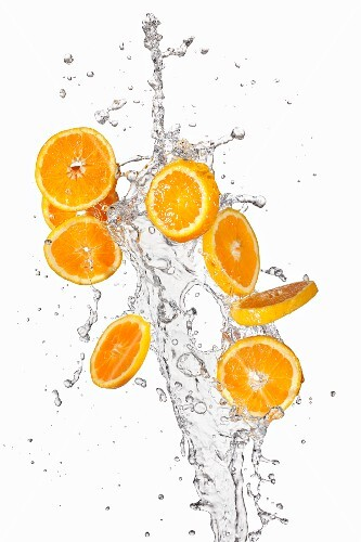 Orange slices and a splash of water