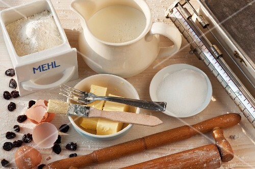 An arrangement of baking utensils and baking ingredients