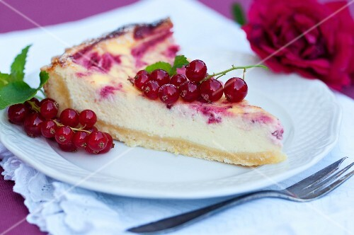 A slice of redcurrant cake on a plate