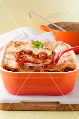 Lasagne al forno (pasta bake with a meat sauce, Italy)