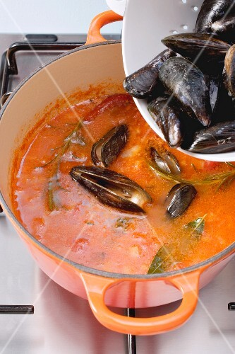 Mussels being added to tomato broth