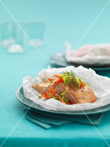 A salmon fillet in parchment paper