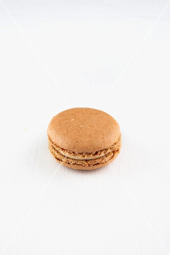 A Single Earl Grey Macaroon on a White Background