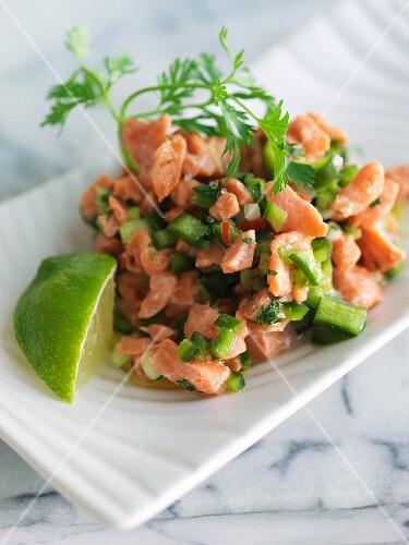 Salmon Ceviche on a Dish