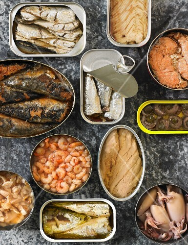Assorted Canned Seafood; In Opened Cans; From Above