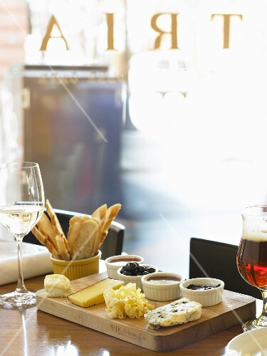 Cheese Sample Plate on a Restaurant Table