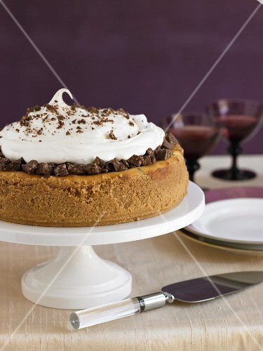 Whole Chocolate Swirl Cheesecake on a Cake Plate