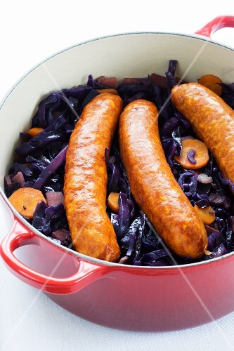 Red cabbage with carrots and Montbeliard sausage (France)