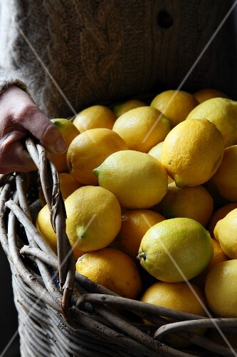 Person holding a basket of lemons