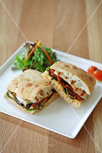 A grilled vegetable panini
