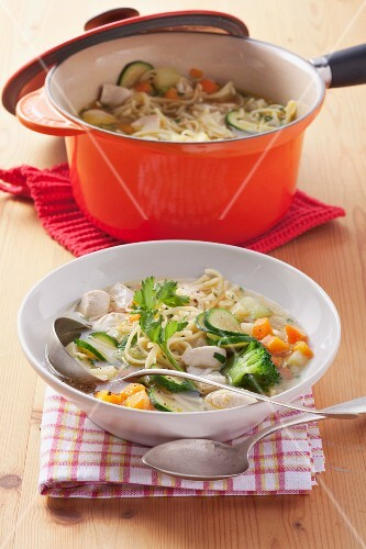 Chicken stew with pasta and vegetables