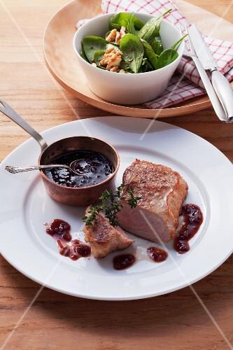 Veal steak with port wine gravy