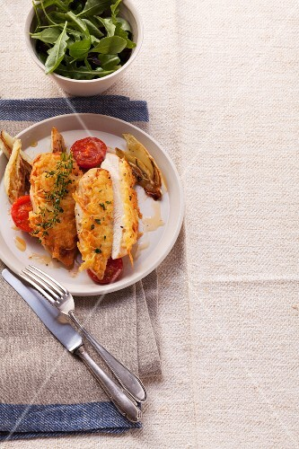 Chicken breast fillet with a potato crust