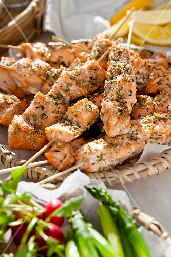 Salmon skewers with fennel seed