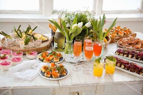 Spring buffet with finger food and drinks