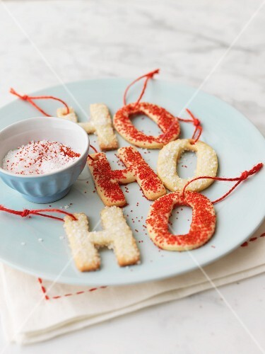 Letter-shaped Christmas biscuits with sugar
