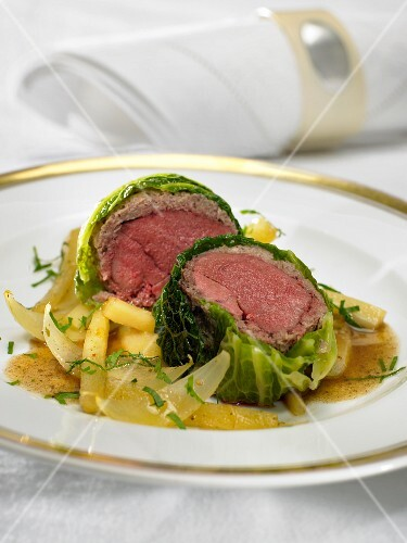 Pigeon breast wrapped in savoy cabbage