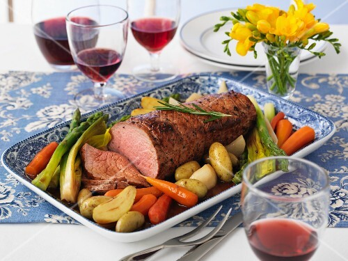 Roast veal with vegetables
