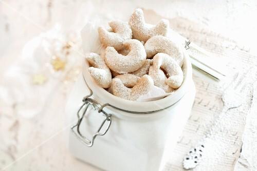 Vanilla crescent biscuits in a jar