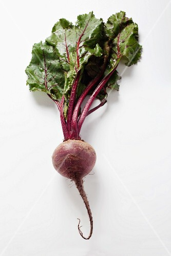 A beetroot with leaves