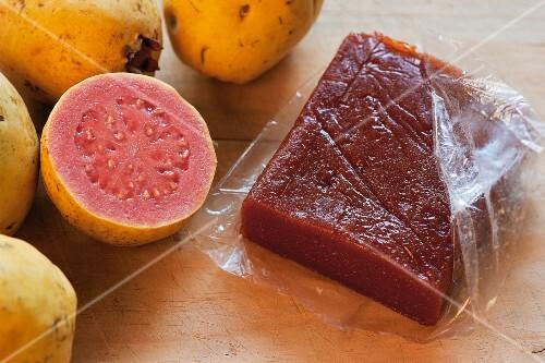 Goiabada (Brazilian guava pasta) and fresh guavas