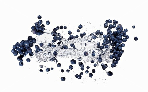 Blueberries and a splash of water