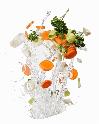 Soup vegetables with a water splash