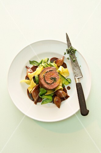 Beef roulade with pasta and vegetables