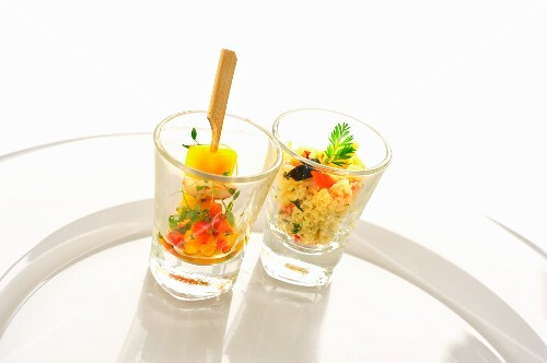 Lobster and mango kebabs and couscous salad