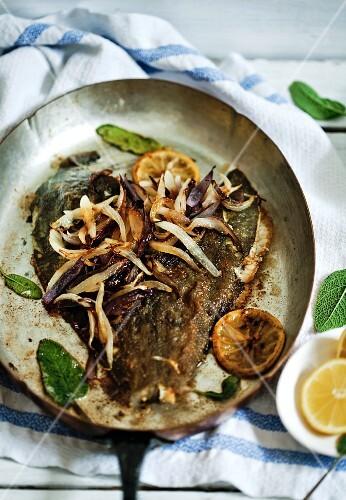 Pan fried plaice with lemons, sage and onions