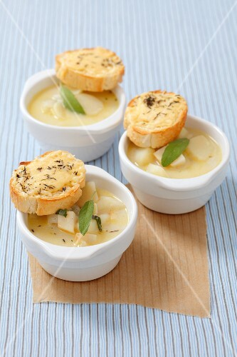 Celery and potato soup with sage and thyme