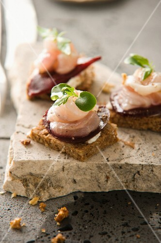Canapes with trout and beetroot