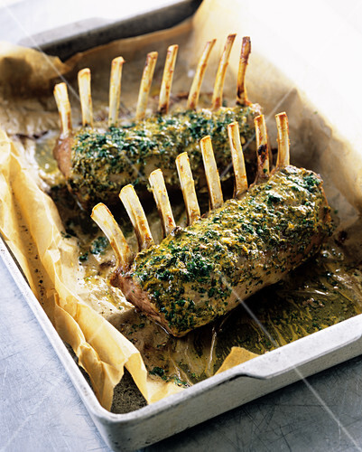 Lamb loin rack joint with a herb and mustard crust