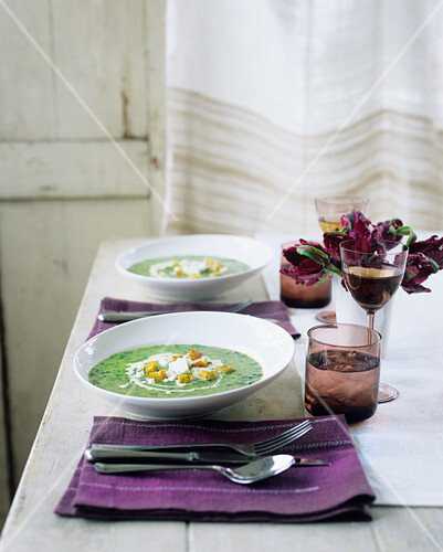 Watercress soup with goat