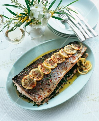 Salmon filled with gremolata filling