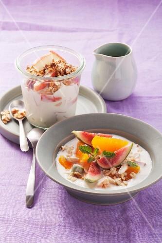 Yogurt mueslie with fruit and muesli with quark and pears
