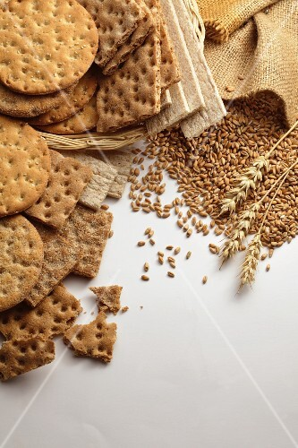 Crispbreads and wheat grains