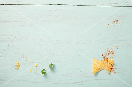 Nachos on wooden background