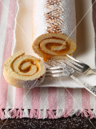 Jelly roll with apricot marmalade