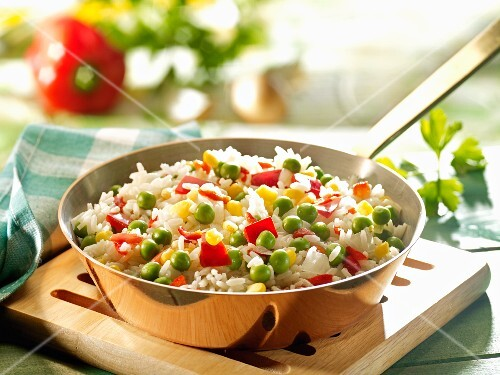 Colorful vegetable-rice dish