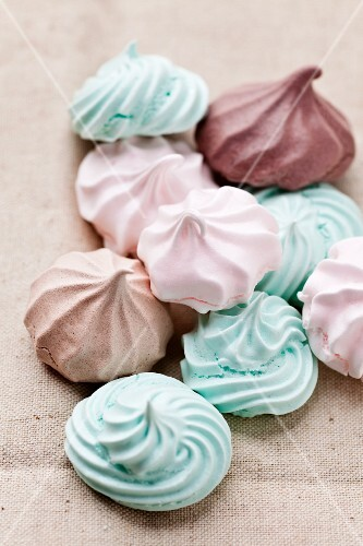 Pastel colored meringues